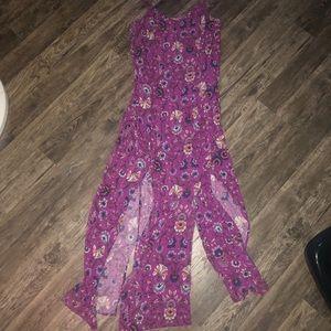 Purple tank top dress with flower design